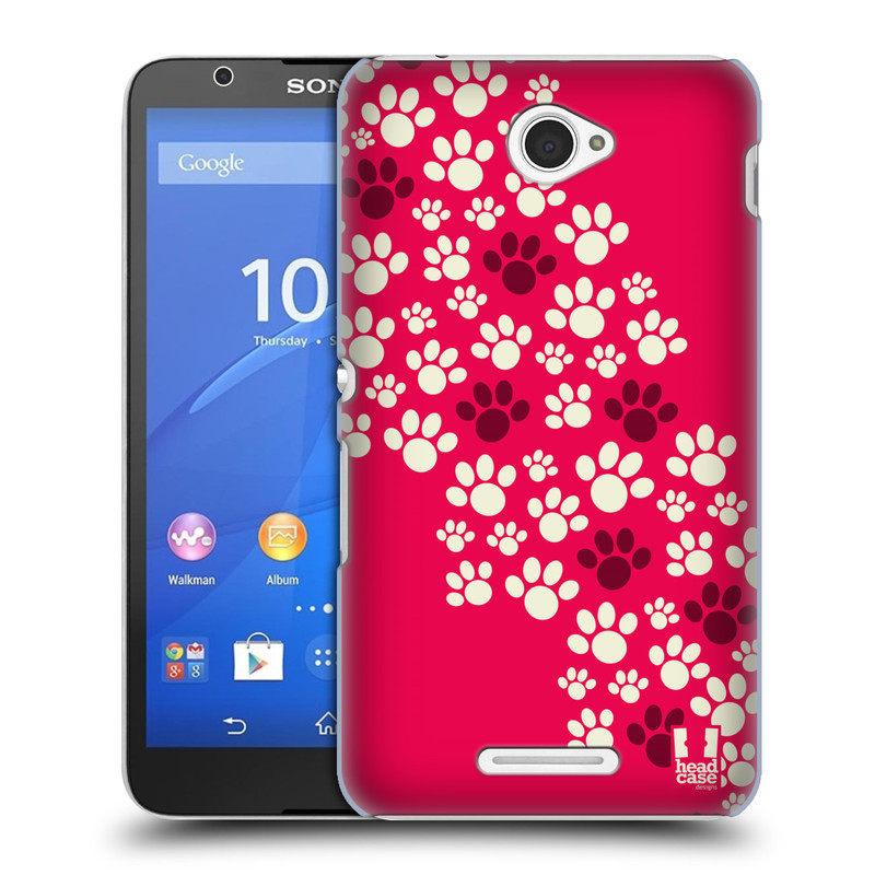 Plastové pouzdro na mobil Sony Xperia E4 E2105 HEAD CASE TLAPKY RŮŽOVÉ (Kryt či obal na mobilní telefon Sony Xperia E4 a E4 Dual SIM)