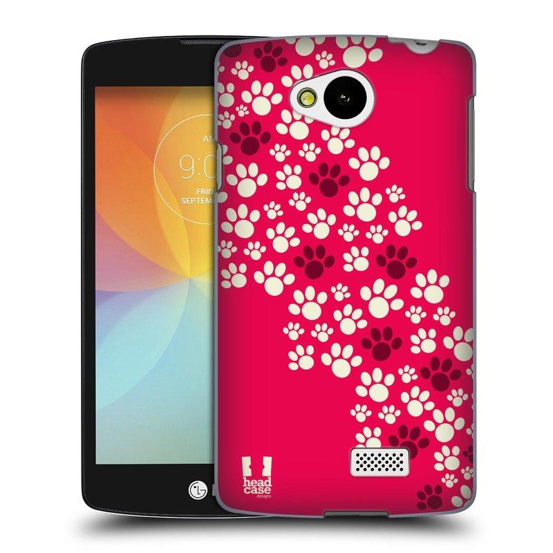 Plastové pouzdro na mobil LG F60 HEAD CASE TLAPKY RŮŽOVÉ (Kryt či obal na mobilní telefon LG F60 D390n)