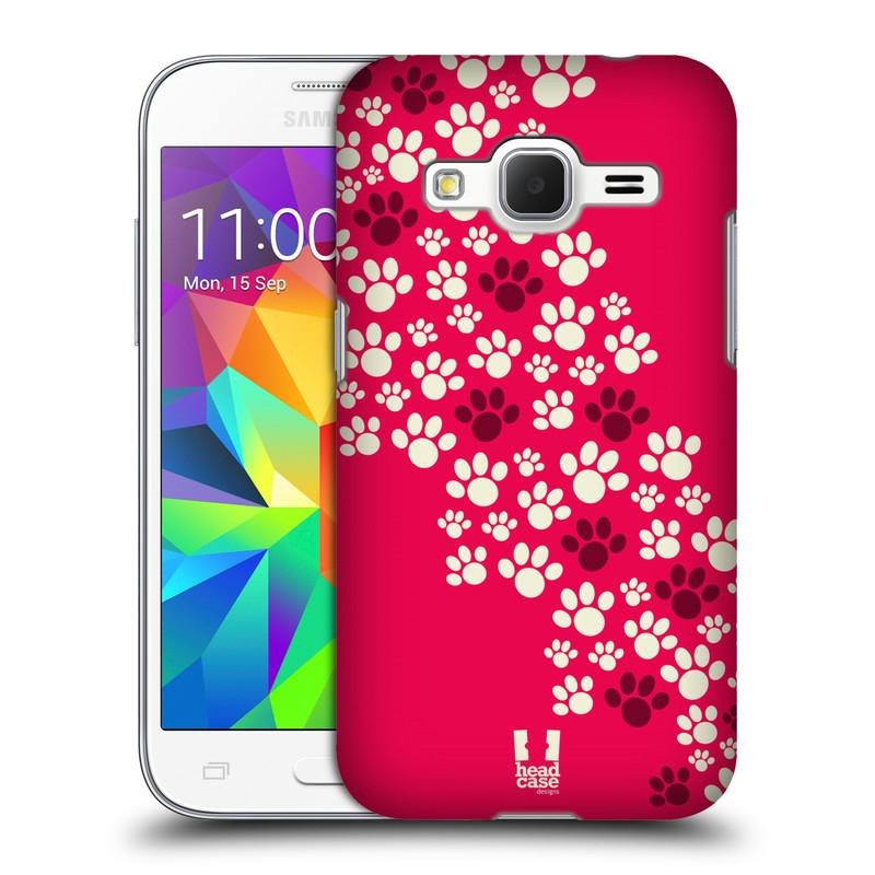 Plastové pouzdro na mobil Samsung Galaxy Core Prime LTE HEAD CASE TLAPKY RŮŽOVÉ (Kryt či obal na mobilní telefon Samsung Galaxy Core Prime LTE SM-G360)