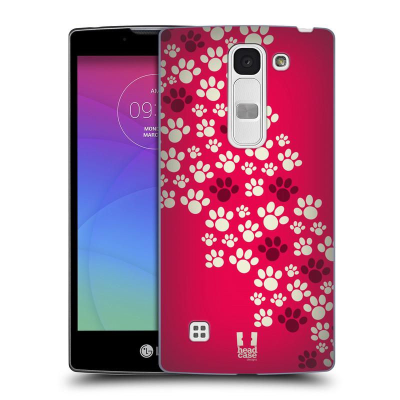 Plastové pouzdro na mobil LG Spirit LTE HEAD CASE TLAPKY RŮŽOVÉ (Kryt či obal na mobilní telefon LG Spirit H420 a LG Spirit LTE H440N)