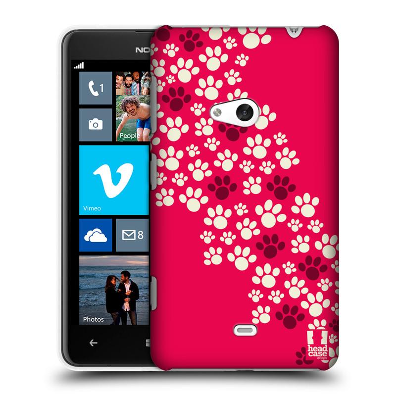 Plastové pouzdro na mobil Nokia Lumia 625 HEAD CASE TLAPKY RŮŽOVÉ (Kryt či obal na mobilní telefon Nokia Lumia 625)