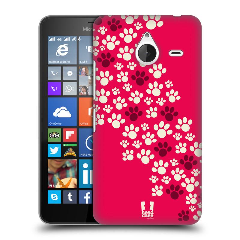 Plastové pouzdro na mobil Microsoft Lumia 640 XL HEAD CASE TLAPKY RŮŽOVÉ (Kryt či obal na mobilní telefon Microsoft Lumia 640 XL)