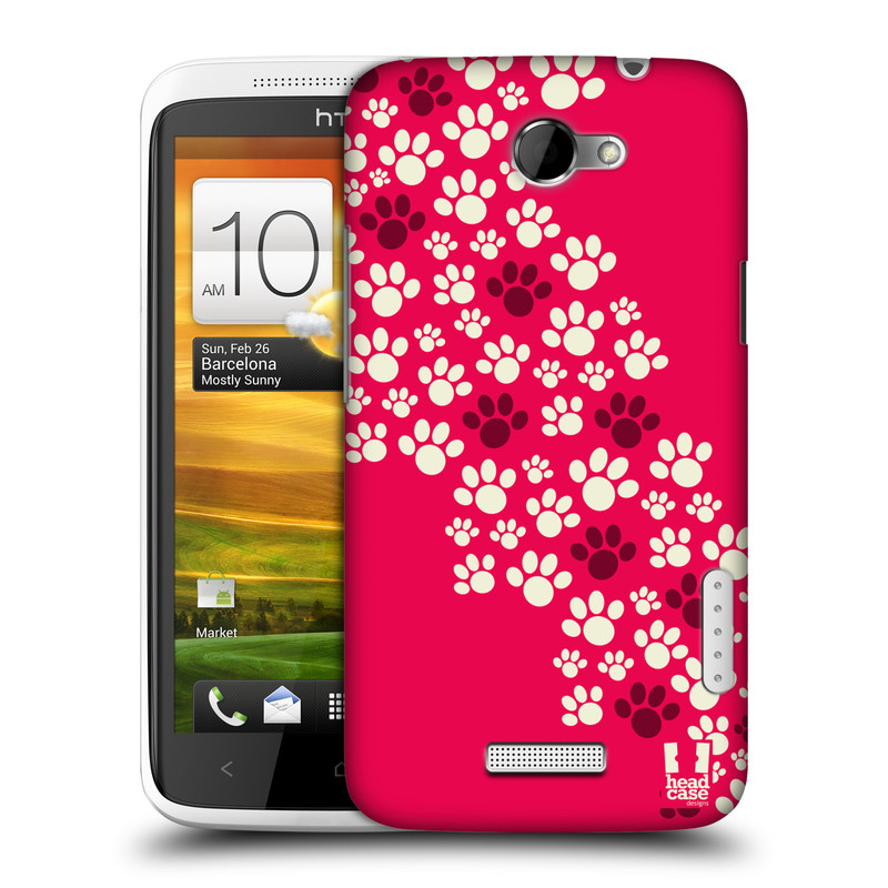 Plastové pouzdro na mobil HTC ONE X HEAD CASE TLAPKY RŮŽOVÉ (Kryt či obal na mobilní telefon HTC ONE X)