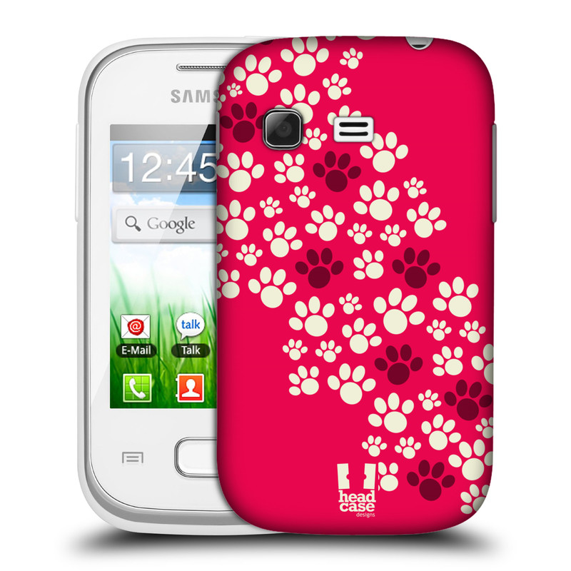 Plastové pouzdro na mobil Samsung Galaxy Pocket HEAD CASE TLAPKY RŮŽOVÉ (Kryt či obal na mobilní telefon Samsung Galaxy Pocket GT-S5300)