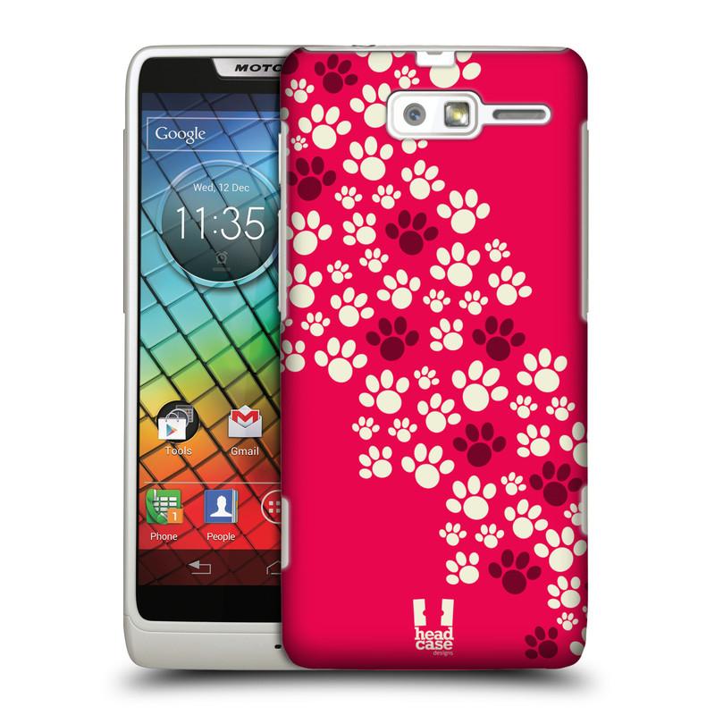 Plastové pouzdro na mobil Motorola Razr i XT890 HEAD CASE TLAPKY RŮŽOVÉ (Kryt či obal na mobilní telefon Motorola Razr i XT890)