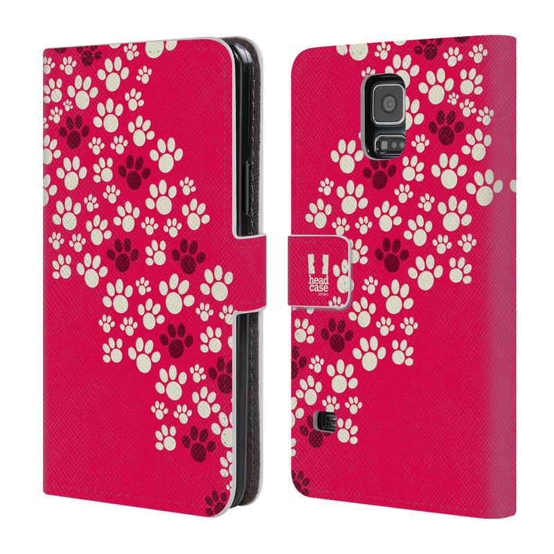 Flipové pouzdro na mobil Samsung Galaxy S5 HEAD CASE TLAPKY RŮŽOVÉ (Flipový vyklápěcí kryt či obal z umělé kůže na mobilní telefon Samsung Galaxy S5 SM-G900)