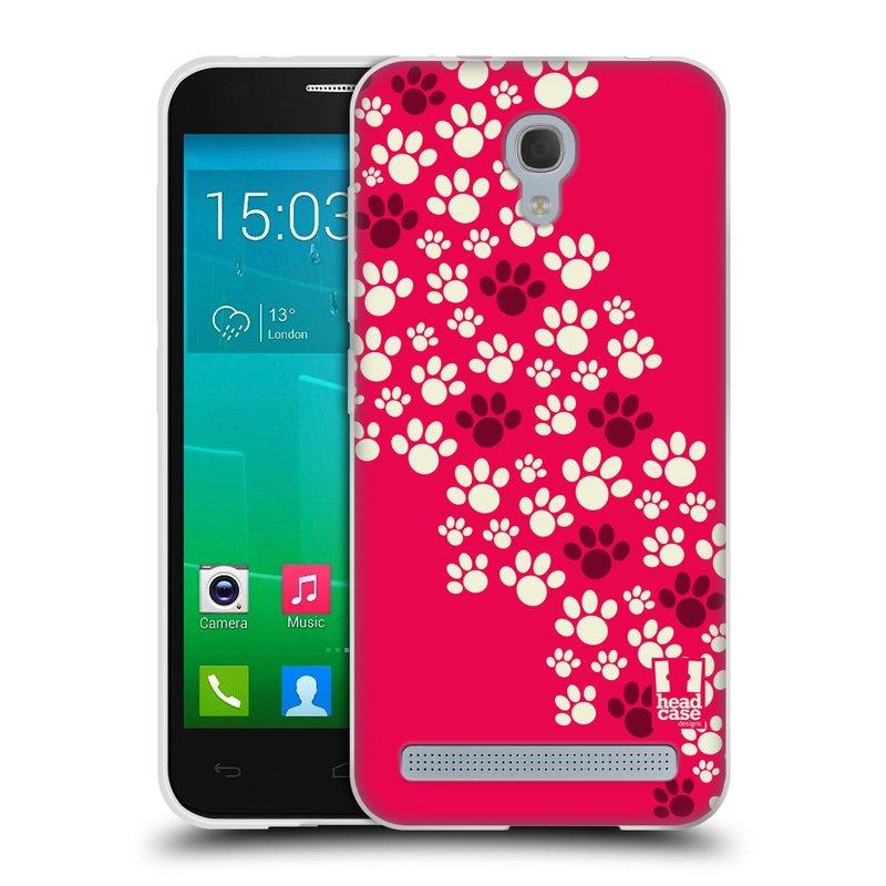 Silikonové pouzdro na mobil Alcatel One Touch Idol 2 Mini S 6036Y HEAD CASE TLAPKY RŮŽOVÉ (Silikonový kryt či obal na mobilní telefon Alcatel Idol 2 Mini S OT-6036Y)