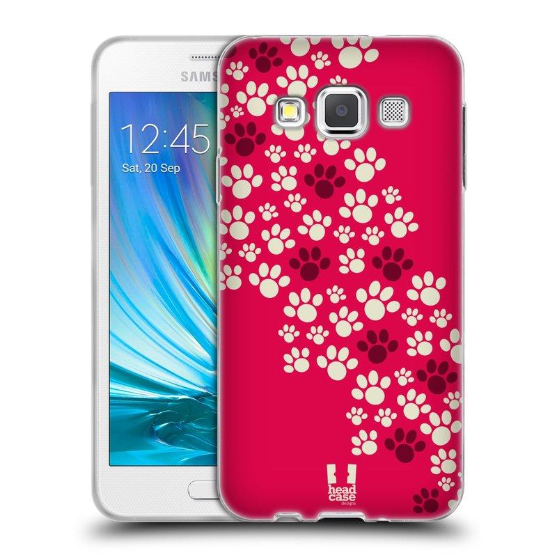 Silikonové pouzdro na mobil Samsung Galaxy A3 HEAD CASE TLAPKY RŮŽOVÉ (Silikonový kryt či obal na mobilní telefon Samsung Galaxy A3 SM-A300)