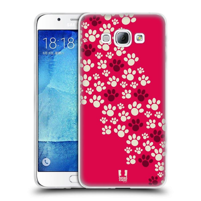 Silikonové pouzdro na mobil Samsung Galaxy A8 HEAD CASE TLAPKY RŮŽOVÉ (Silikonový kryt či obal na mobilní telefon Samsung Galaxy A8 SM-A800)