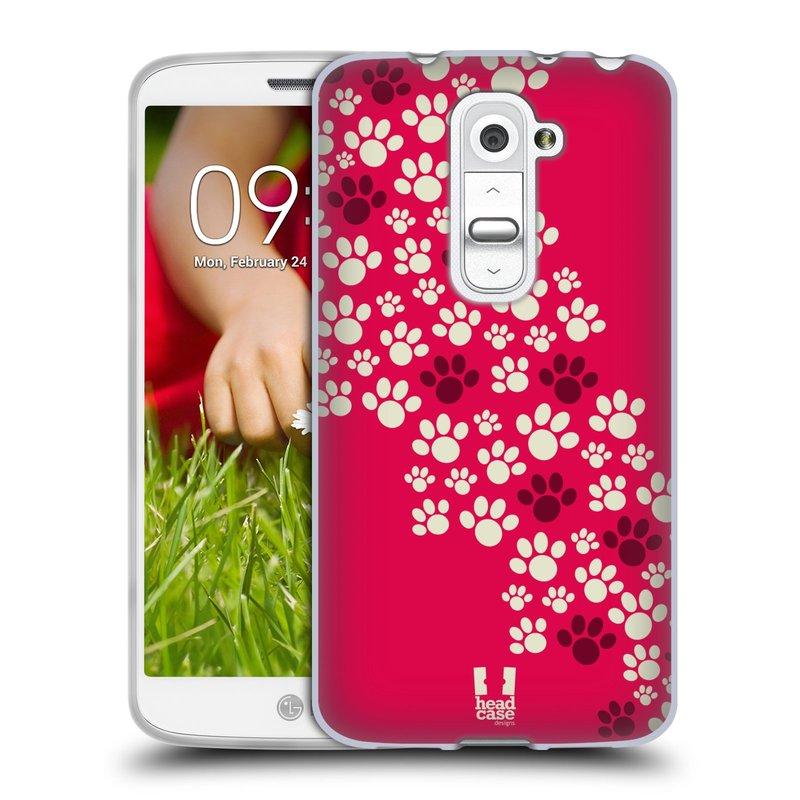 Silikonové pouzdro na mobil LG G2 Mini HEAD CASE TLAPKY RŮŽOVÉ (Silikonový kryt či obal na mobilní telefon LG G2 Mini D620)