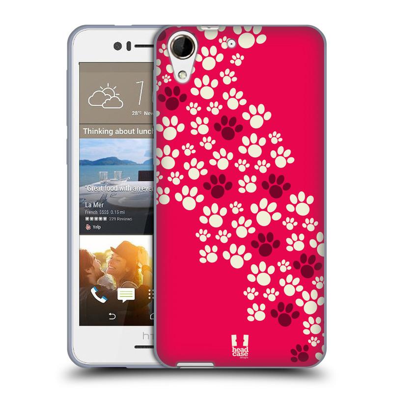 Silikonové pouzdro na mobil HTC Desire 728G Dual SIM HEAD CASE TLAPKY RŮŽOVÉ (Silikonový kryt či obal na mobilní telefon HTC Desire 728 G Dual SIM)