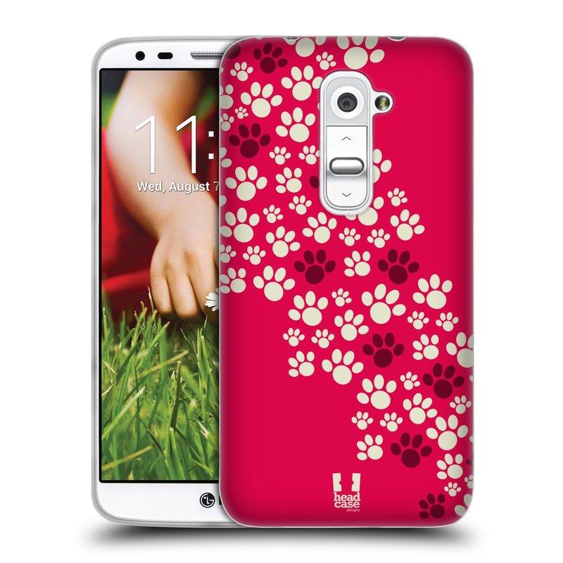 Silikonové pouzdro na mobil LG G2 HEAD CASE TLAPKY RŮŽOVÉ (Silikonový kryt či obal na mobilní telefon LG G2 D802)