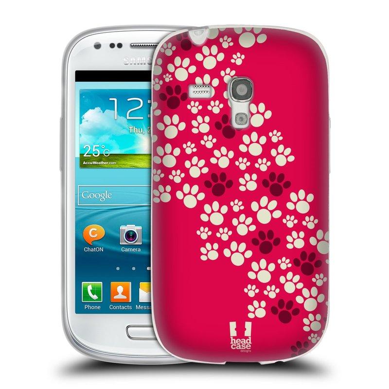 Silikonové pouzdro na mobil Samsung Galaxy S III Mini HEAD CASE TLAPKY RŮŽOVÉ (Silikonový kryt či obal na mobilní telefon Samsung Galaxy S III Mini GT-i8190)