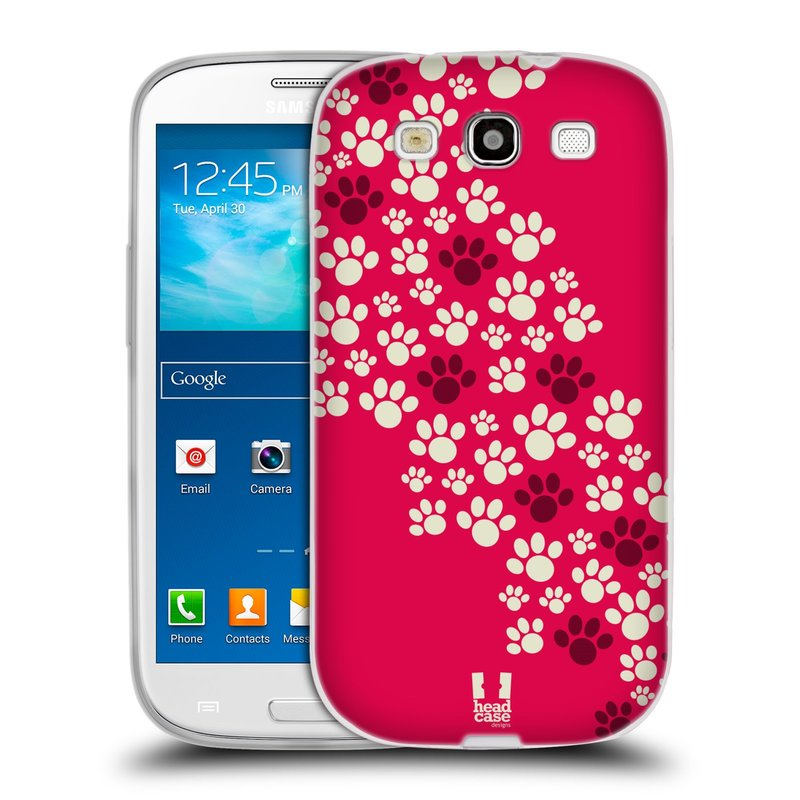 Silikonové pouzdro na mobil Samsung Galaxy S3 Neo HEAD CASE TLAPKY RŮŽOVÉ (Silikonový kryt či obal na mobilní telefon Samsung Galaxy S3 Neo GT-i9301i)