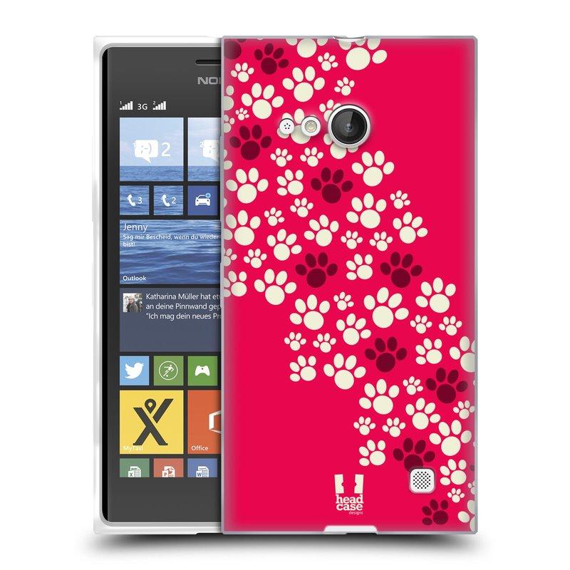 Silikonové pouzdro na mobil Nokia Lumia 730 Dual SIM HEAD CASE TLAPKY RŮŽOVÉ (Silikonový kryt či obal na mobilní telefon Nokia Lumia 730 Dual SIM)