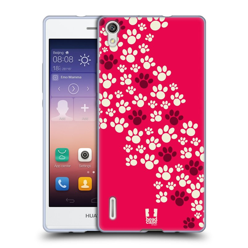 Silikonové pouzdro na mobil Huawei P7 HEAD CASE TLAPKY RŮŽOVÉ (Silikonový kryt či obal na mobilní telefon Huawei Ascend P7)