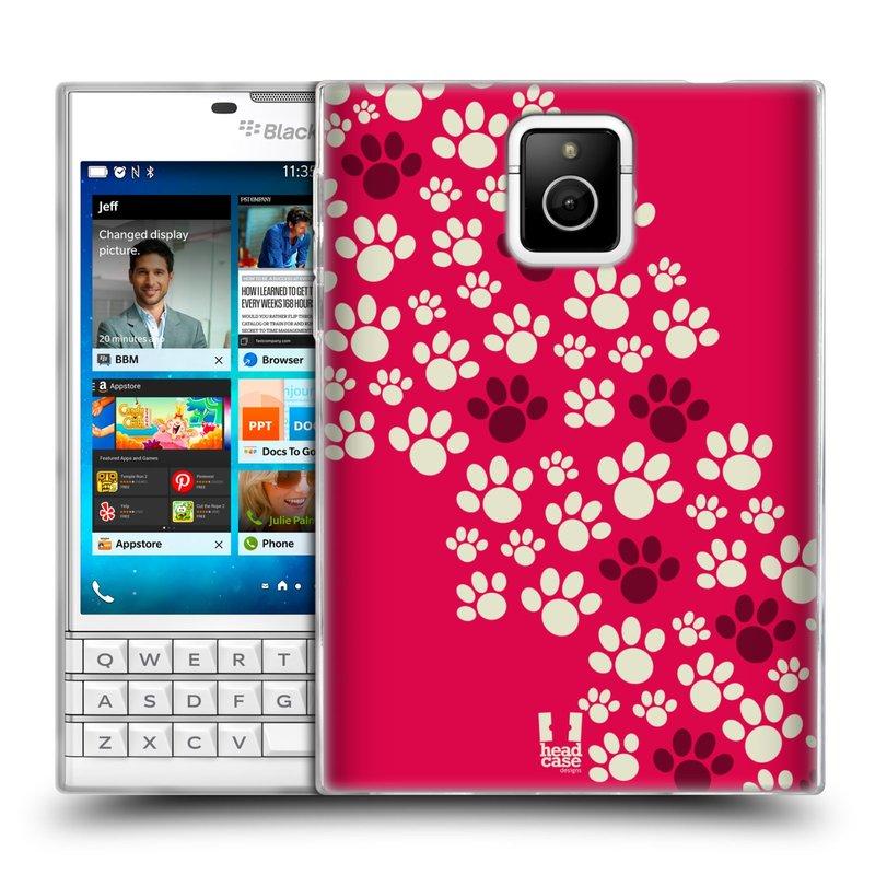 Silikonové pouzdro na mobil Blackberry PASSPORT HEAD CASE TLAPKY RŮŽOVÉ (Silikonový kryt či obal na mobilní telefon Blackberry PASSPORT)