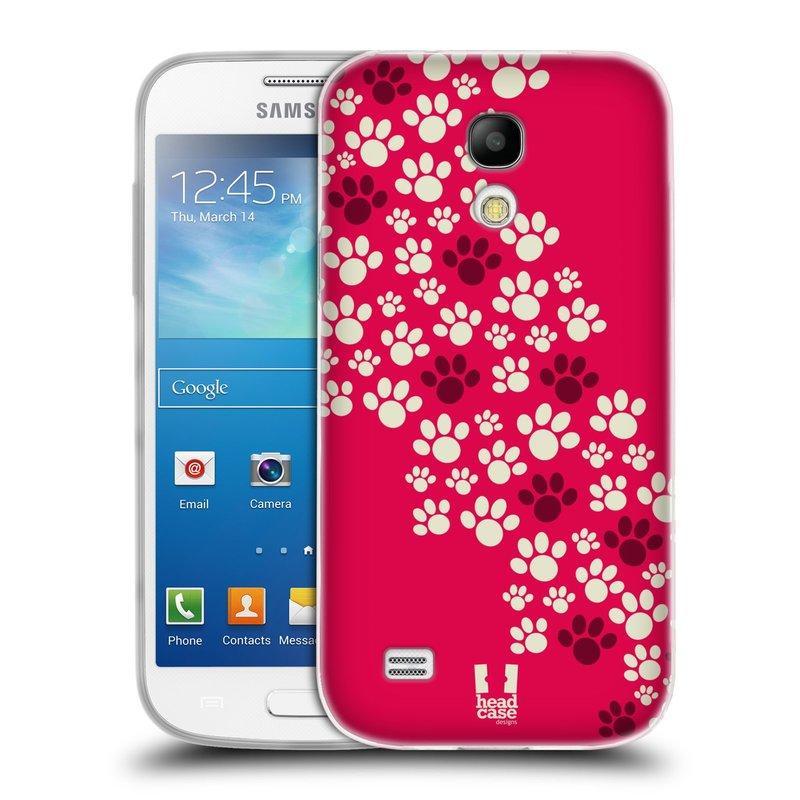 Silikonové pouzdro na mobil Samsung Galaxy S4 Mini HEAD CASE TLAPKY RŮŽOVÉ (Silikonový kryt či obal na mobilní telefon Samsung Galaxy S4 Mini GT-i9195 / i9190 (nepasuje na verzi Black Edition))
