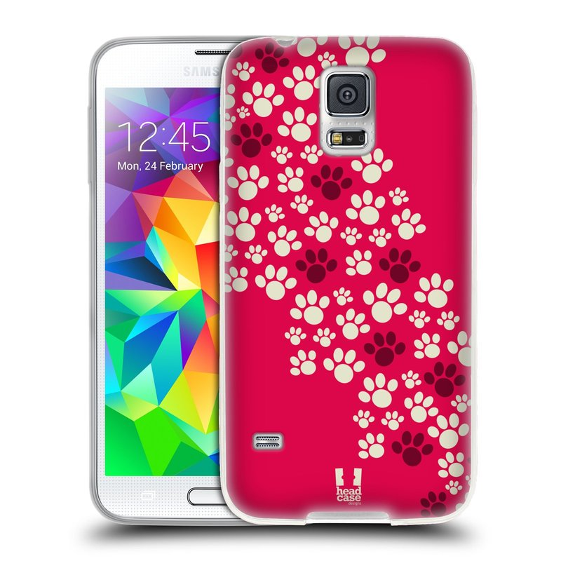 Silikonové pouzdro na mobil Samsung Galaxy S5 HEAD CASE TLAPKY RŮŽOVÉ (Silikonový kryt či obal na mobilní telefon Samsung Galaxy S5 SM-G900F)