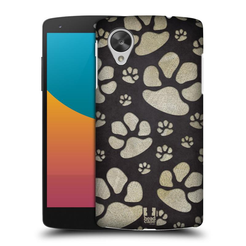 Plastové pouzdro na mobil LG Nexus 5 HEAD CASE TLAPKY ŠEDÉ (Kryt či obal na mobilní telefon LG Google Nexus 5 D821)