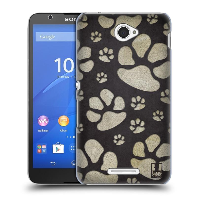 Plastové pouzdro na mobil Sony Xperia E4 E2105 HEAD CASE TLAPKY ŠEDÉ (Kryt či obal na mobilní telefon Sony Xperia E4 a E4 Dual SIM)