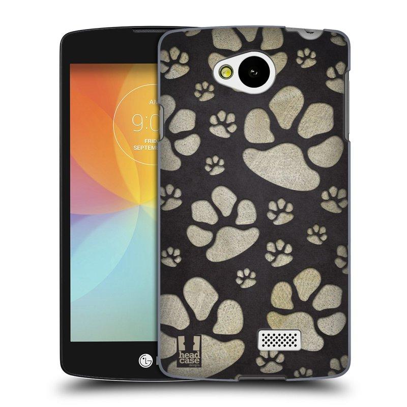 Plastové pouzdro na mobil LG F60 HEAD CASE TLAPKY ŠEDÉ (Kryt či obal na mobilní telefon LG F60 D390n)