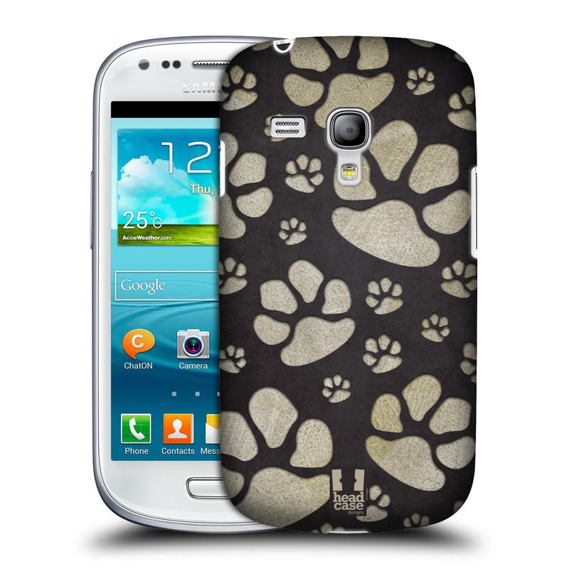 Plastové pouzdro na mobil Samsung Galaxy S III Mini HEAD CASE TLAPKY ŠEDÉ (Kryt či obal na mobilní telefon Samsung Galaxy S III Mini GT-i8190)