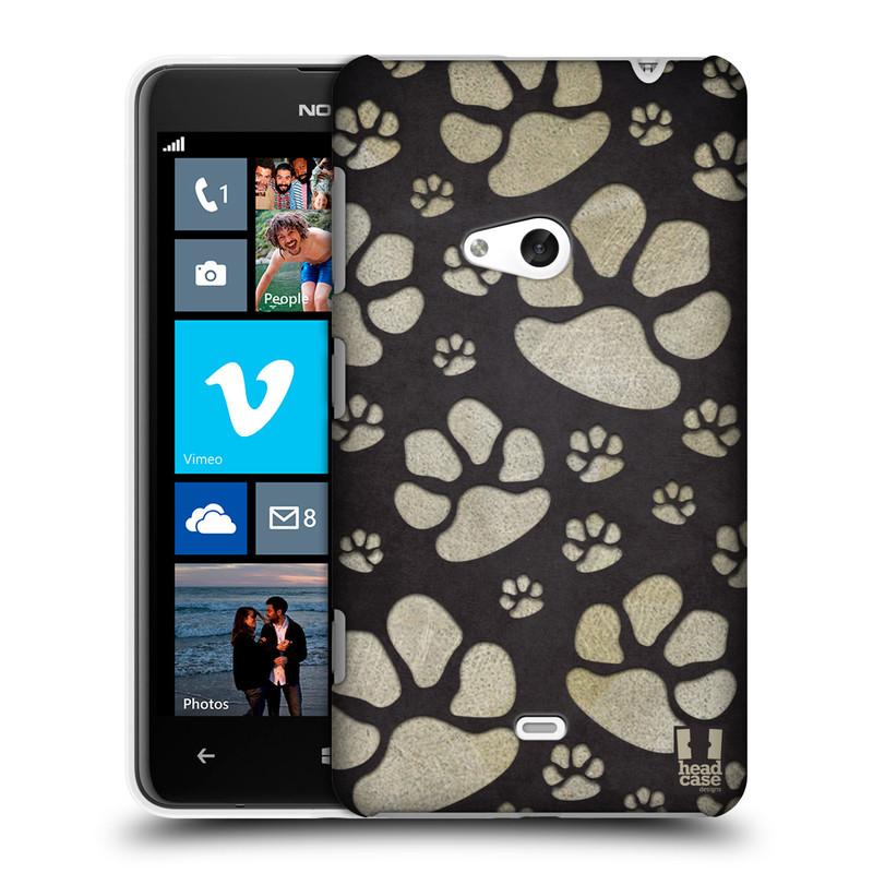 Plastové pouzdro na mobil Nokia Lumia 625 HEAD CASE TLAPKY ŠEDÉ (Kryt či obal na mobilní telefon Nokia Lumia 625)