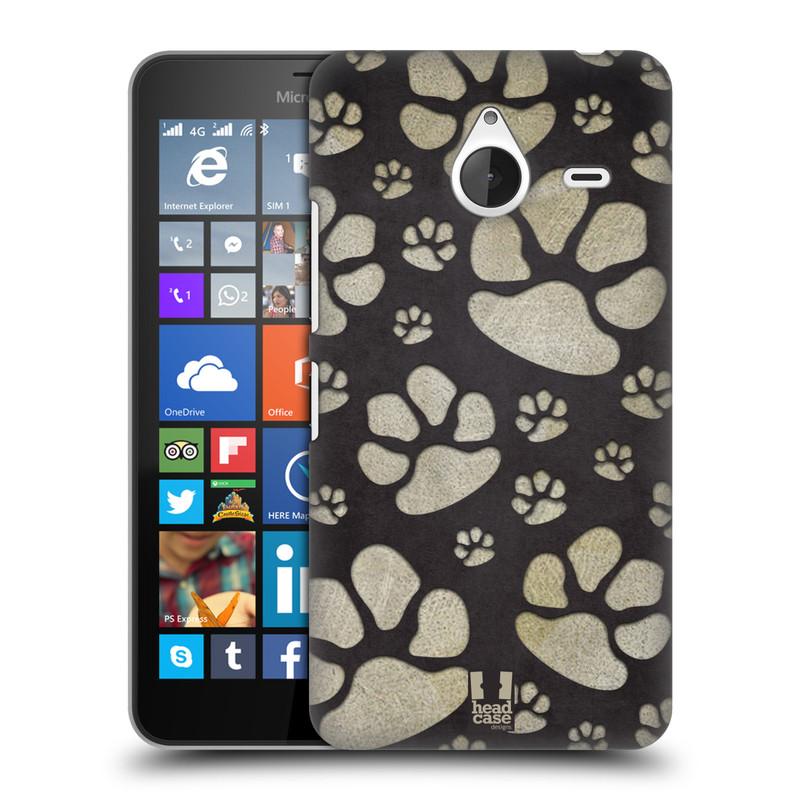 Plastové pouzdro na mobil Microsoft Lumia 640 XL HEAD CASE TLAPKY ŠEDÉ (Kryt či obal na mobilní telefon Microsoft Lumia 640 XL)