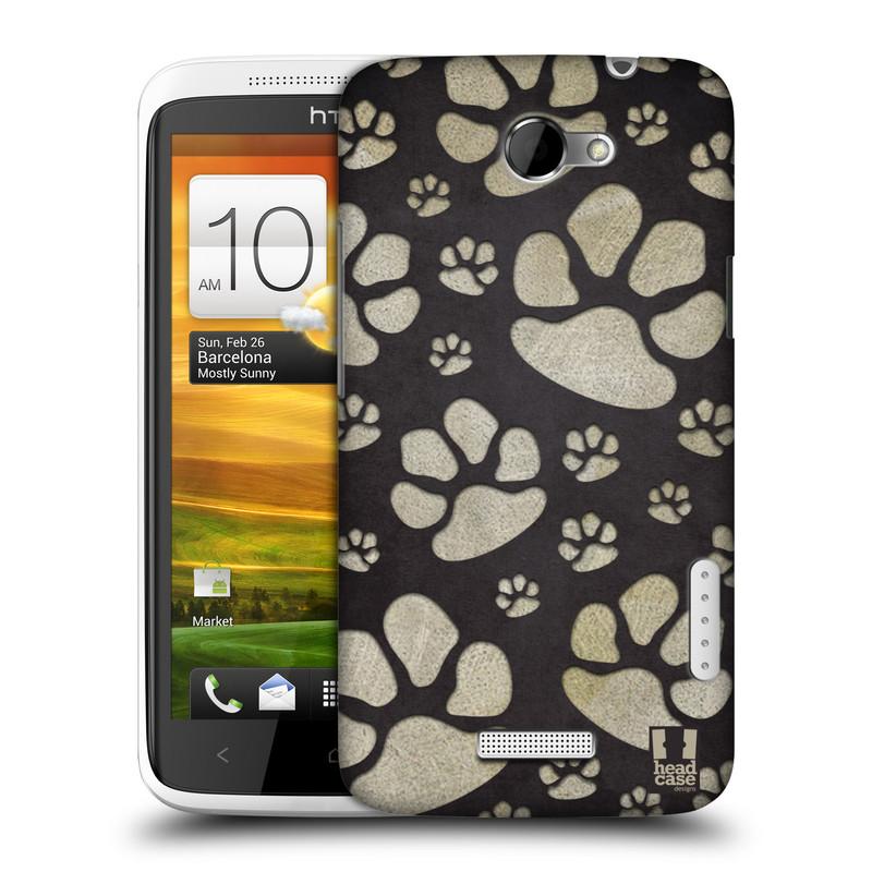 Plastové pouzdro na mobil HTC ONE X HEAD CASE TLAPKY ŠEDÉ (Kryt či obal na mobilní telefon HTC ONE X)