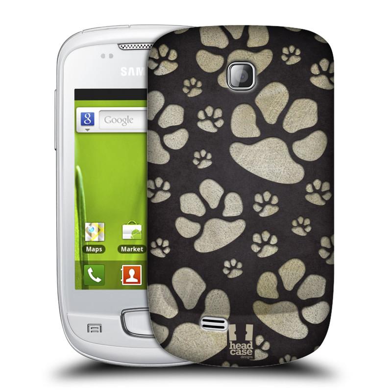Plastové pouzdro na mobil Samsung Galaxy Mini HEAD CASE TLAPKY ŠEDÉ (Kryt či obal na mobilní telefon Samsung Galaxy Mini GT-S5570 / GT-S5570i)