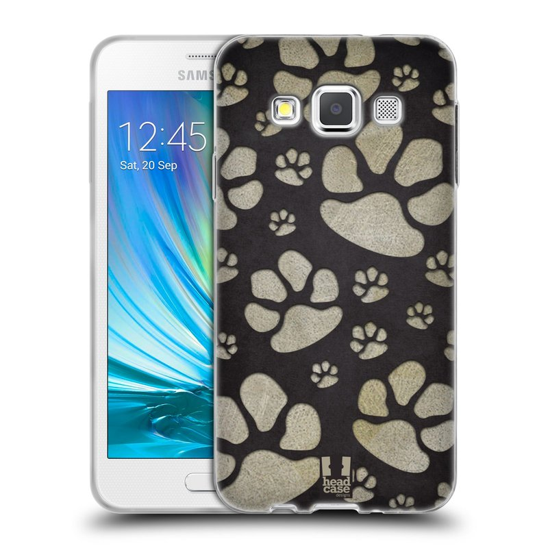 Silikonové pouzdro na mobil Samsung Galaxy A3 HEAD CASE TLAPKY ŠEDÉ (Silikonový kryt či obal na mobilní telefon Samsung Galaxy A3 SM-A300)