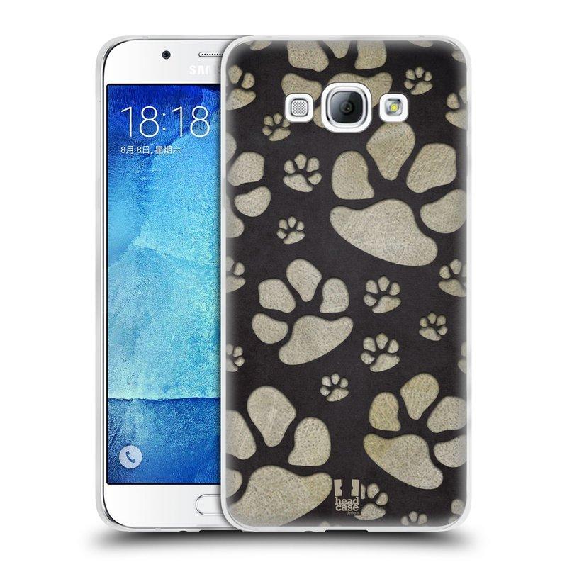 Silikonové pouzdro na mobil Samsung Galaxy A8 HEAD CASE TLAPKY ŠEDÉ (Silikonový kryt či obal na mobilní telefon Samsung Galaxy A8 SM-A800)