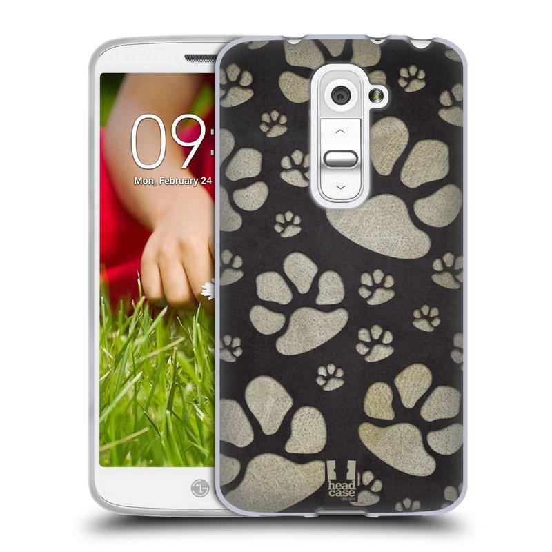 Silikonové pouzdro na mobil LG G2 Mini HEAD CASE TLAPKY ŠEDÉ (Silikonový kryt či obal na mobilní telefon LG G2 Mini D620)