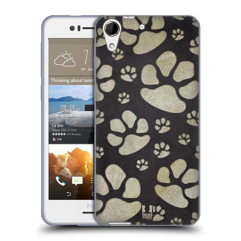 Silikonové pouzdro na mobil HTC Desire 728G Dual SIM HEAD CASE TLAPKY ŠEDÉ (Silikonový kryt či obal na mobilní telefon HTC Desire 728 G Dual SIM)