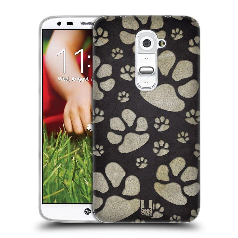 Silikonové pouzdro na mobil LG G2 HEAD CASE TLAPKY ŠEDÉ (Silikonový kryt či obal na mobilní telefon LG G2 D802)