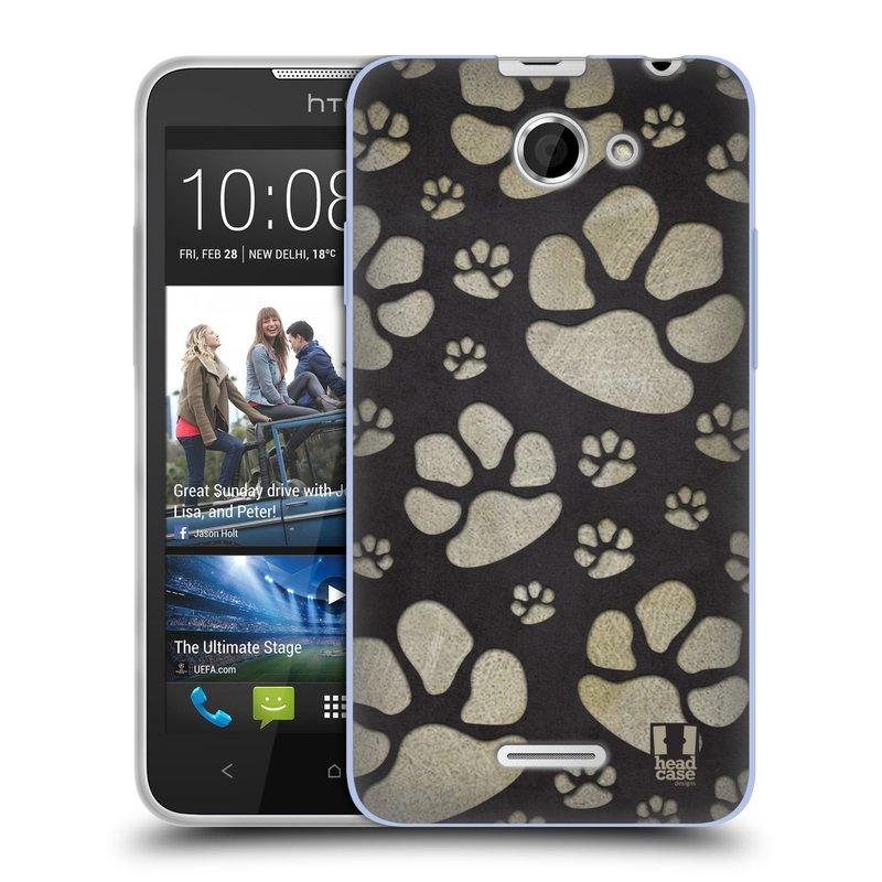 Silikonové pouzdro na mobil HTC Desire 516 HEAD CASE TLAPKY ŠEDÉ (Silikonový kryt či obal na mobilní telefon HTC Desire 516 Dual SIM)