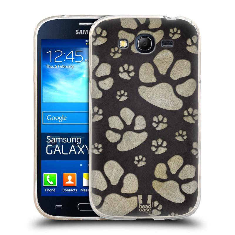 Silikonové pouzdro na mobil Samsung Galaxy Grand Neo HEAD CASE TLAPKY ŠEDÉ (Silikonový kryt či obal na mobilní telefon Samsung Galaxy Grand Neo GT-I9060)