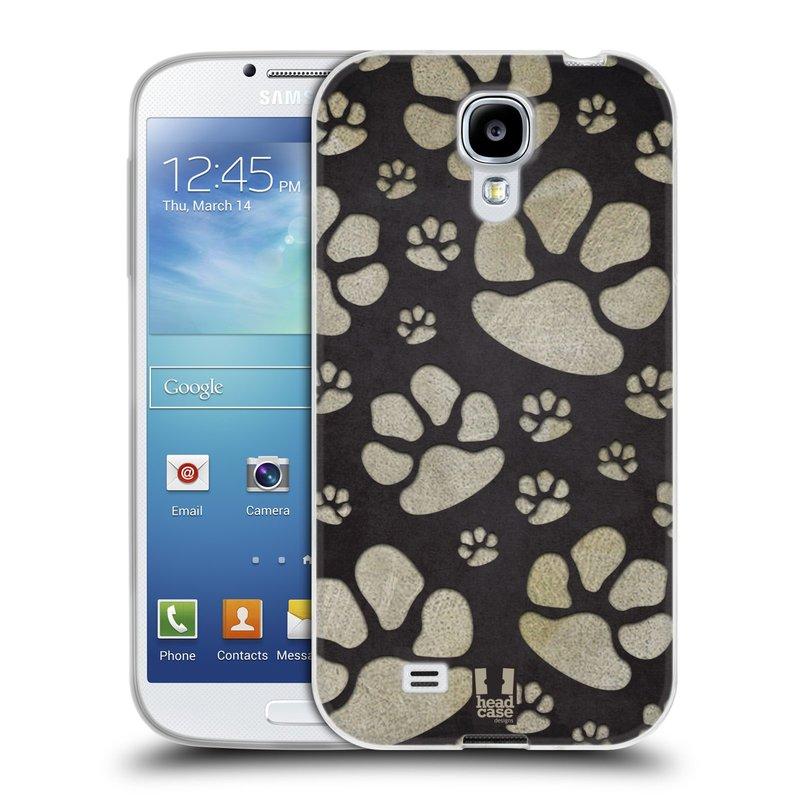 Silikonové pouzdro na mobil Samsung Galaxy S4 HEAD CASE TLAPKY ŠEDÉ (Silikonový kryt či obal na mobilní telefon Samsung Galaxy S4 GT-i9505 / i9500)