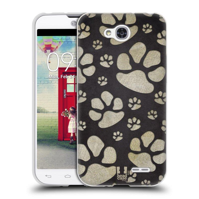 Silikonové pouzdro na mobil LG L90 HEAD CASE TLAPKY ŠEDÉ (Silikonový kryt či obal na mobilní telefon LG L90 D405n)