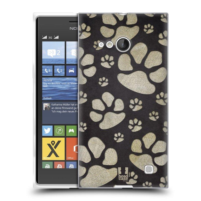 Silikonové pouzdro na mobil Nokia Lumia 730 Dual SIM HEAD CASE TLAPKY ŠEDÉ (Silikonový kryt či obal na mobilní telefon Nokia Lumia 730 Dual SIM)