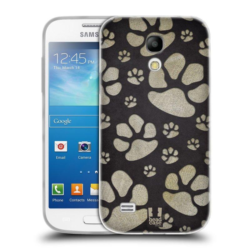 Silikonové pouzdro na mobil Samsung Galaxy S4 Mini HEAD CASE TLAPKY ŠEDÉ (Silikonový kryt či obal na mobilní telefon Samsung Galaxy S4 Mini GT-i9195 / i9190 (nepasuje na verzi Black Edition))