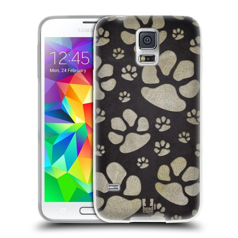 Silikonové pouzdro na mobil Samsung Galaxy S5 HEAD CASE TLAPKY ŠEDÉ (Silikonový kryt či obal na mobilní telefon Samsung Galaxy S5 SM-G900F)