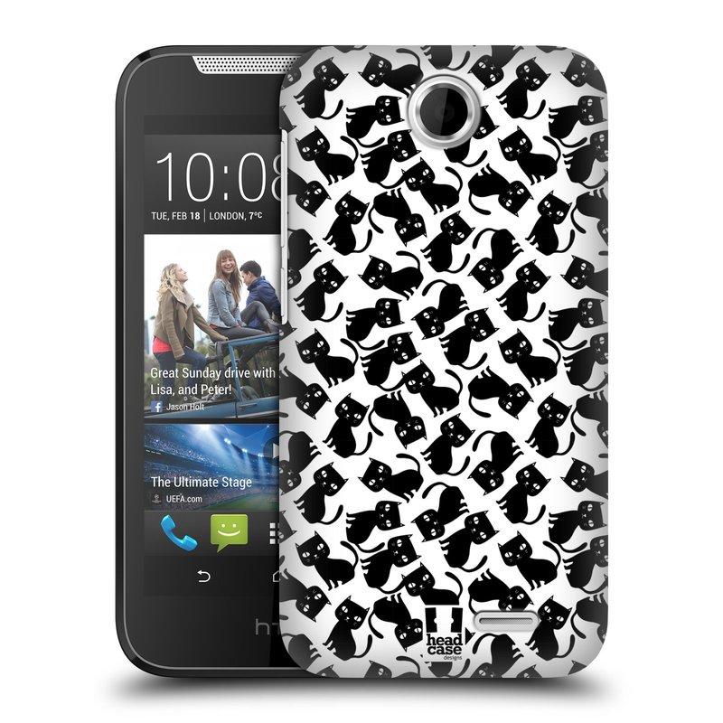 Plastové pouzdro na mobil HTC Desire 310 HEAD CASE KOČKY Black Pattern (Kryt či obal na mobilní telefon HTC Desire 310)