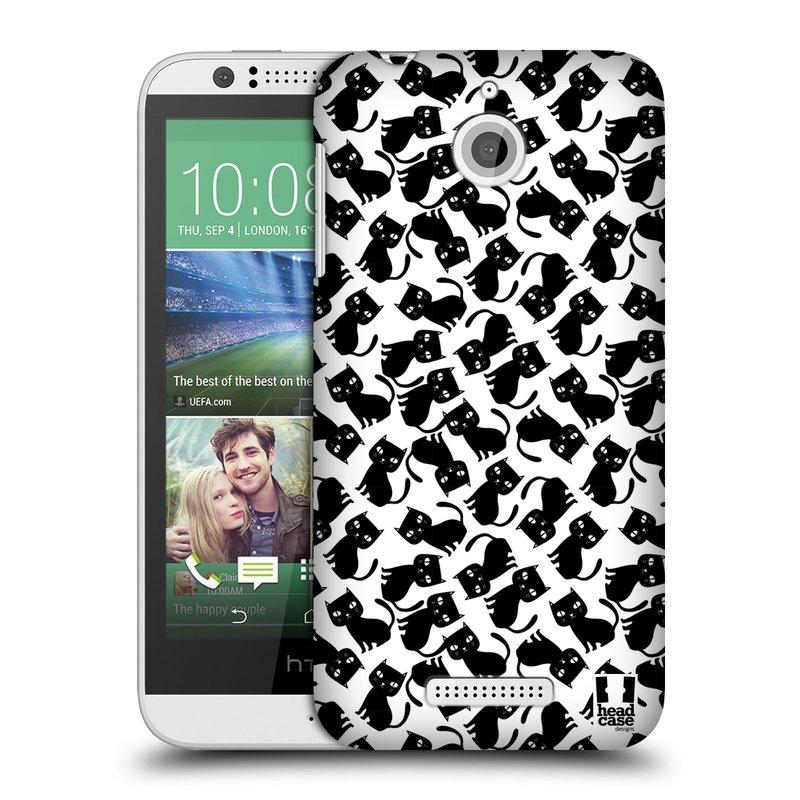 Plastové pouzdro na mobil HTC Desire 510 HEAD CASE KOČKY Black Pattern (Kryt či obal na mobilní telefon HTC Desire 510)