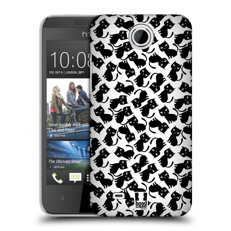 Plastové pouzdro na mobil HTC Desire 300 HEAD CASE KOČKY Black Pattern (Kryt či obal na mobilní telefon HTC Desire 300)