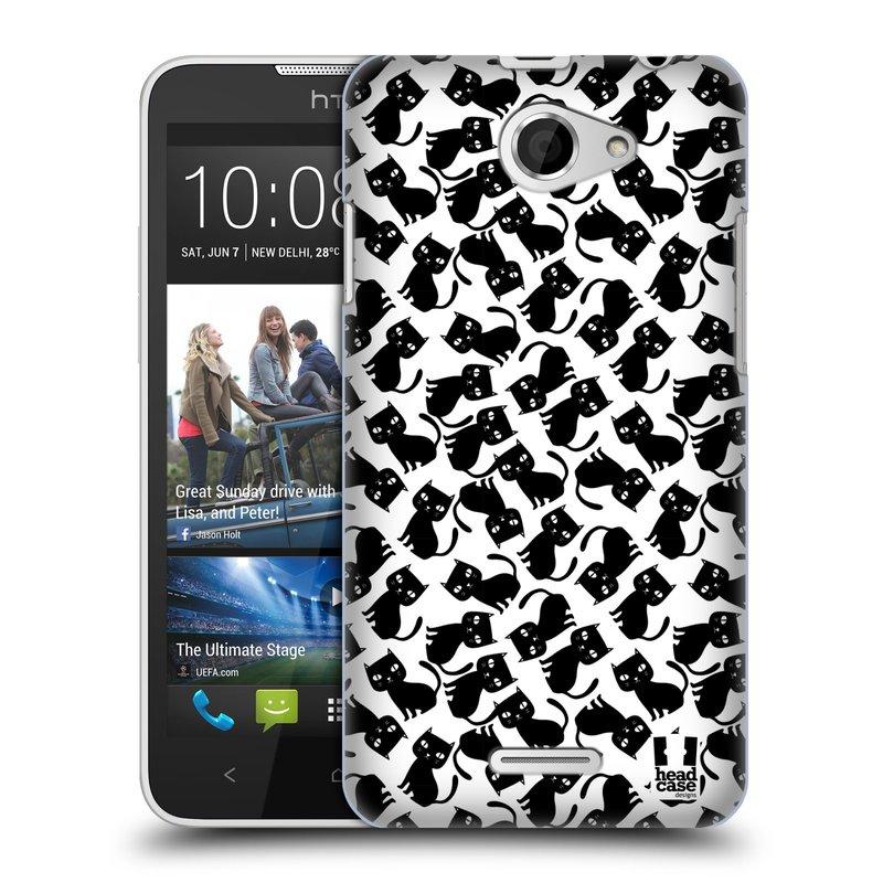 Plastové pouzdro na mobil HTC Desire 516 HEAD CASE KOČKY Black Pattern (Kryt či obal na mobilní telefon HTC Desire 516 Dual SIM)
