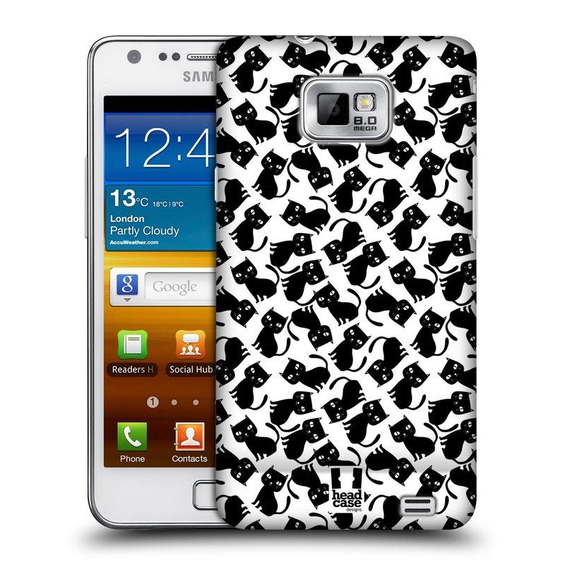 Plastové pouzdro na mobil Samsung Galaxy S II HEAD CASE KOČKY Black Pattern (Kryt či obal na mobilní telefon Samsung Galaxy S II GT-i9100)