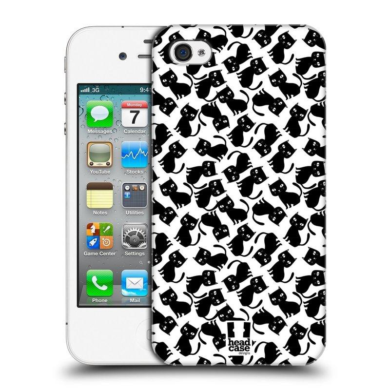 Plastové pouzdro na mobil Apple iPhone 4 a 4S HEAD CASE KOČKY Black Pattern (Kryt či obal na mobilní telefon Apple iPhone 4 a 4S)