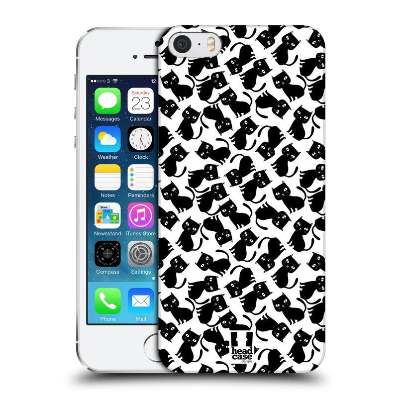 Plastové pouzdro na mobil Apple iPhone SE, 5 a 5S HEAD CASE KOČKY Black Pattern (Kryt či obal na mobilní telefon Apple iPhone SE, 5 a 5S)